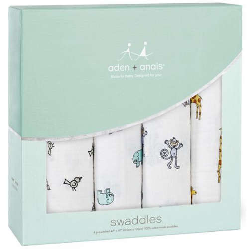 Aden Anais Classic Swaddles 4 Pack Jungle Jam