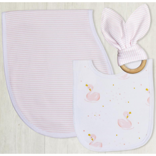 Living Textiles Bib Burp and Teether Swan Princess