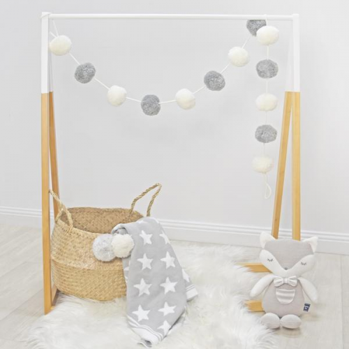 Living Textiles Pom Pom Garland Grey White