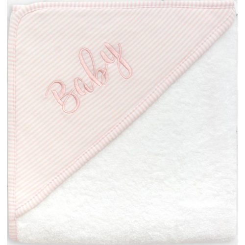 Living Textiles Hooded Towel Pink Stripe