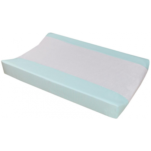 Living Textiles Jersey Change Pad Cover Aqua Stripe Towelling