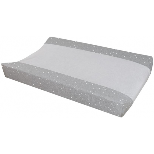 Living Textiles Change Pad Cover Grey Stars Towelling