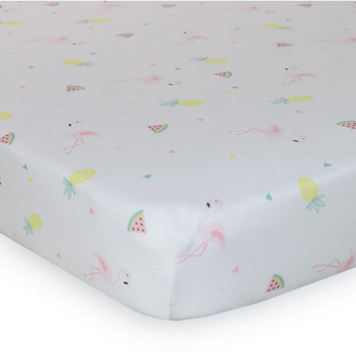 Lolli Living Cot Fitted Sheet Flamingo