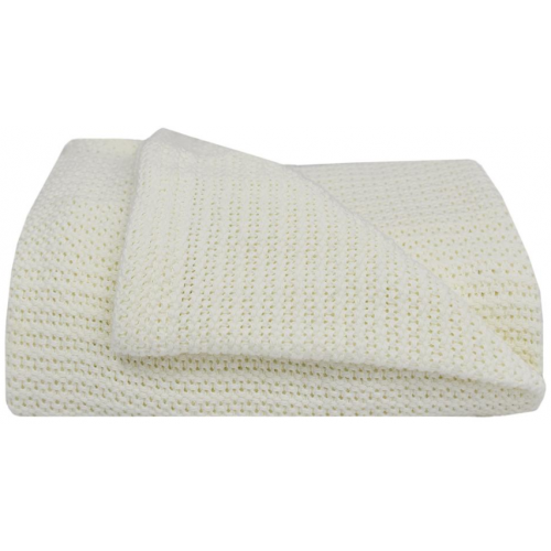 Living Textiles Cot Cellular Blanket White