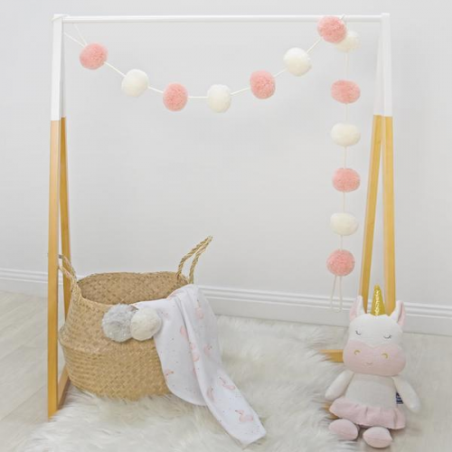 Living Textiles Pom Pom Garland Blush White