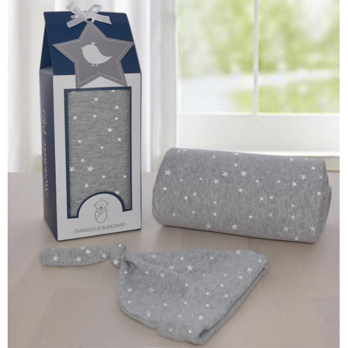 Living Textiles Swaddle Me Gift Set Silver Stars