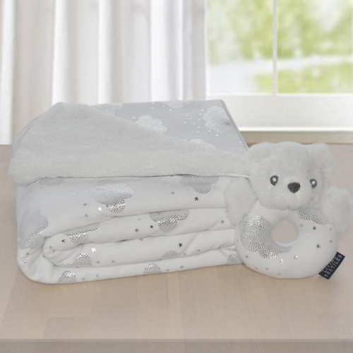 Living Textiles Push Me Gift Set Silver Clouds