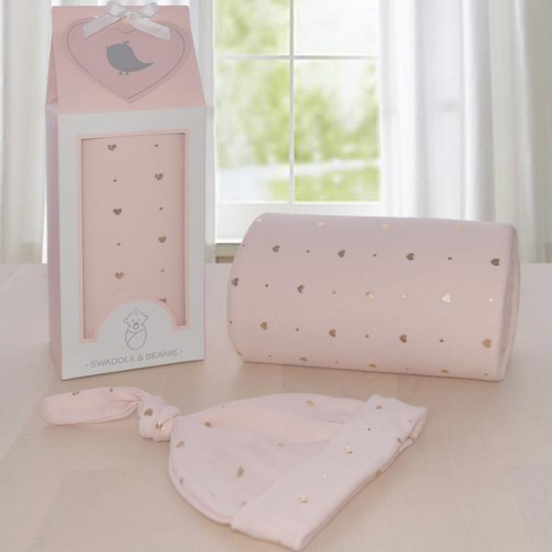 Living Textiles Swaddle Me Gift Set Rose Gold