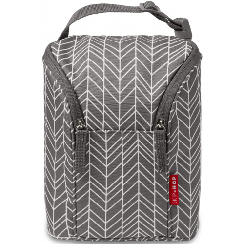 Skip Hop Grab and Go Double Bottle Bag Gray Feather