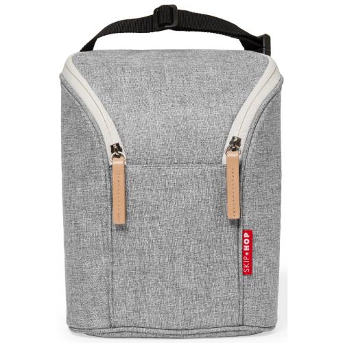 Skip Hop Grab and Go Double Bottle Bag Grey Melange