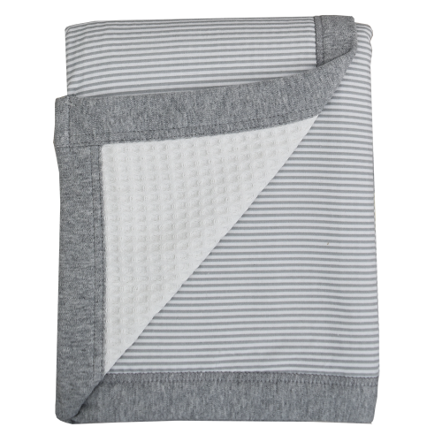 Living Textiles Cot Blanket Grey Stripe