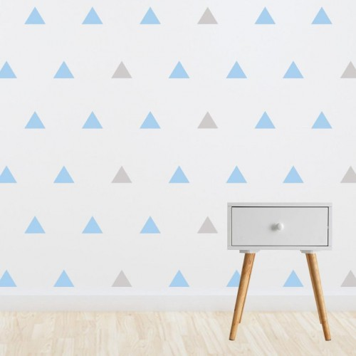 Living Textiles Wall Decals Blue Grey Triangles