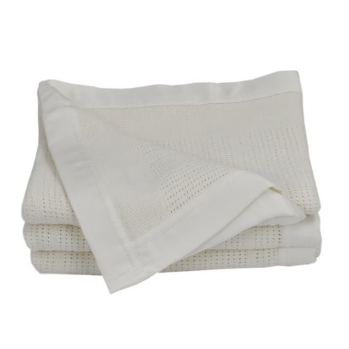 Living Textiles Essentials Cot Cellular Blanket White