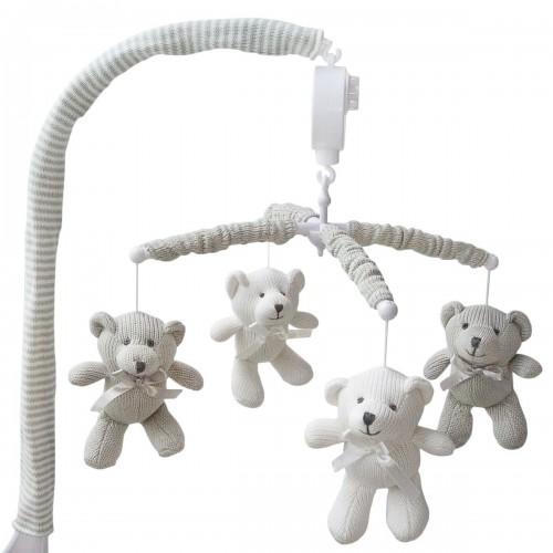 Living Textiles Musical Mobile Set White/Grey Bear