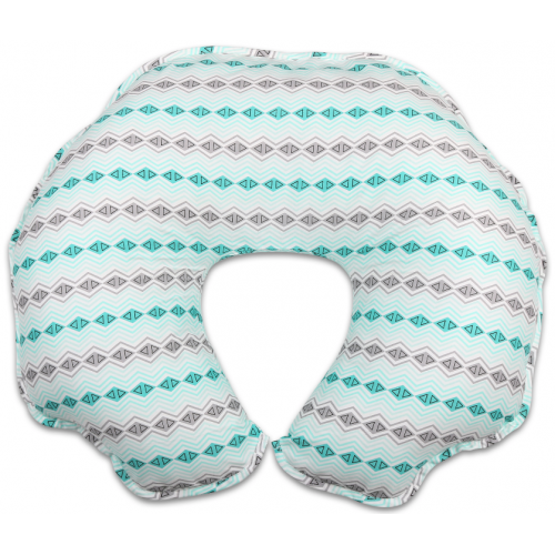 The Peanut Shell Nursing Pillow with Cover Mint and Grey