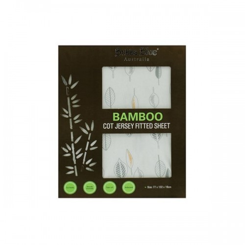 Bubba Blue Bamboo Cot Fitted Sheet Leaf