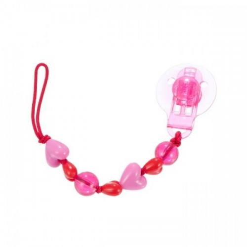 Difrax Heart Beads Soother Cord Pink