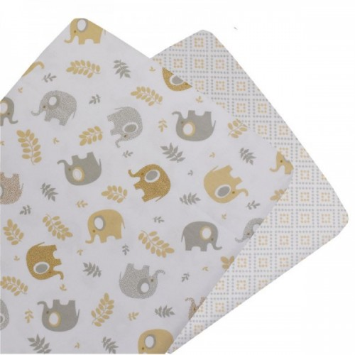 Living Textiles 2pk Bassinet Fitted Sheet Gio Elephant