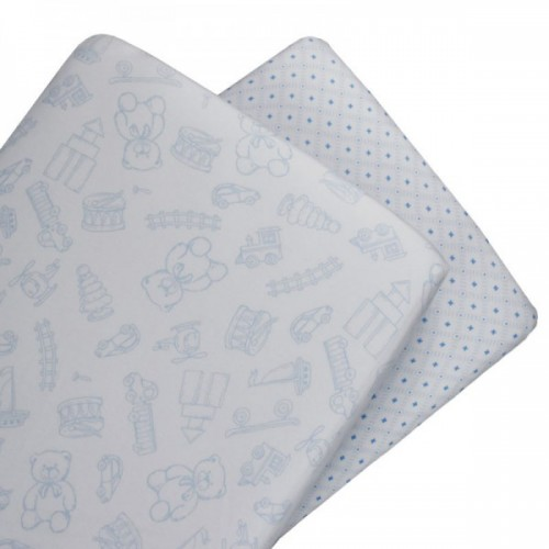 Living Textiles 2pk Bassinet Fitted Sheet Gio Toy