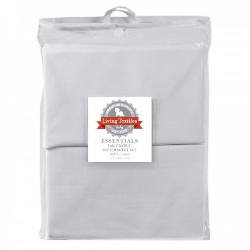 Living Textiles Cotton 2Pk Cradle Fitted Sheets