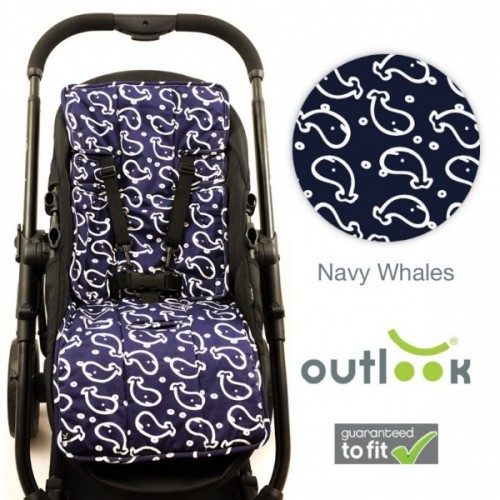 Outlook Cotton + Cotton Pram Liner Navy Whales