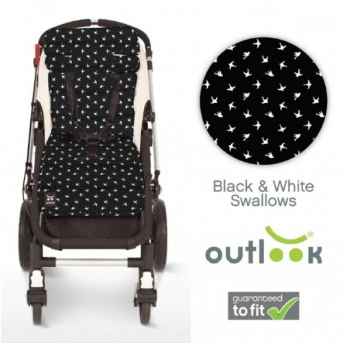 Outlook Cotton Pram Liner Black Swallows