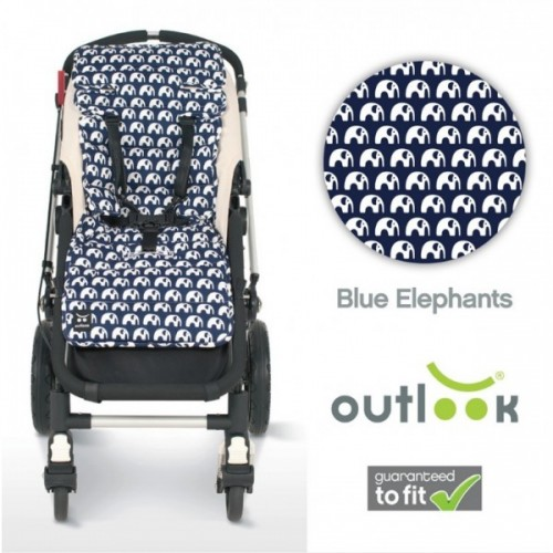 Outlook Cotton Pram Liner Blue Elephants