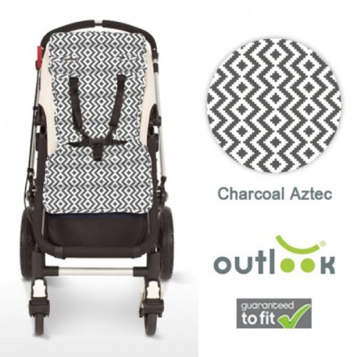 Outlook Cotton Pram Liner Charcoal Aztec