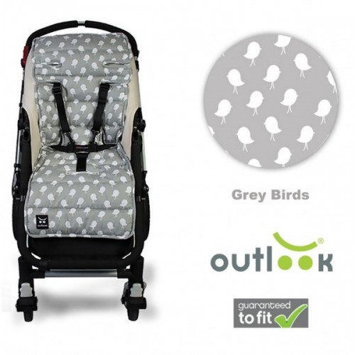 Outlook Cotton Pram Liner Grey Birds
