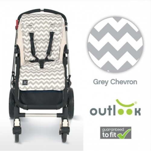 Outlook Cotton Pram Liner Grey Chevron