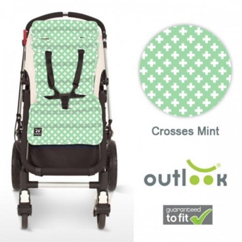 Outlook Cotton Pram Liner Mint Crosses