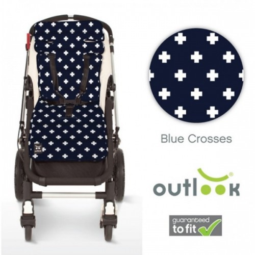 Outlook Cotton Pram Liner Navy Crosses