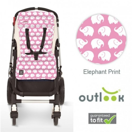 Outlook Cotton Pram Liner Pink Elephants