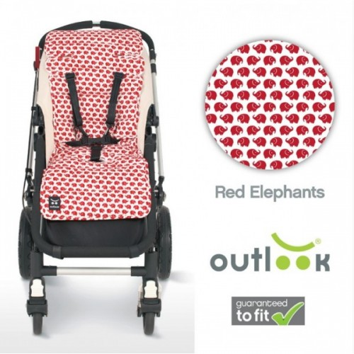 Outlook Cotton Pram Liner Red Elephants