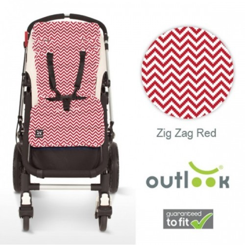 Outlook Cotton Pram Liner Red Zig Zags