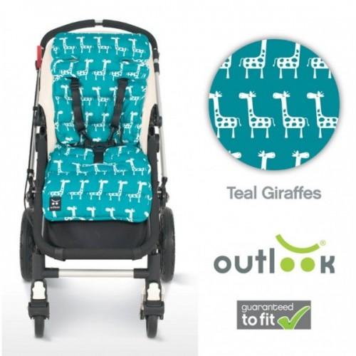 Outlook Cotton Pram Liner Teal Giraffe