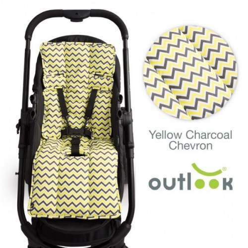 Outlook Cotton Pram Liner Yellow Charcoal Chevron